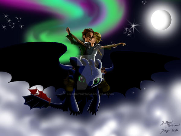 hiccup and astrid kiss on toothless by buffnutbutthead on deviantart