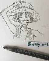 Monkey D. Luffy Ink by Leffyart