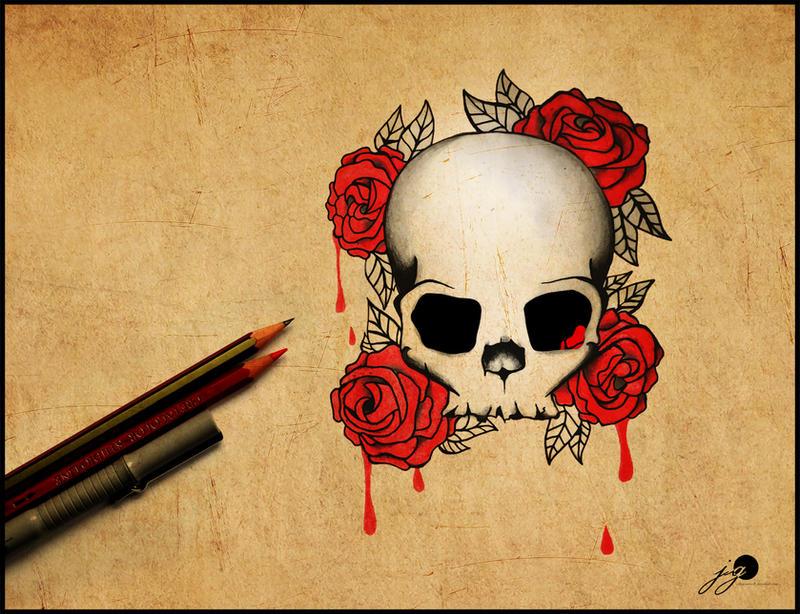skull rose tattoo design by johngiannis27
