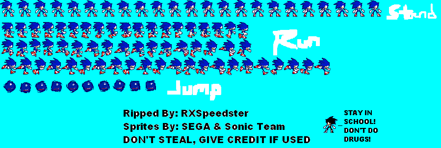 Sonic Rush Offical Sonic Sprite Sheet by RXSpeedster on