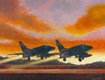 North American F-100D's at Dusk
