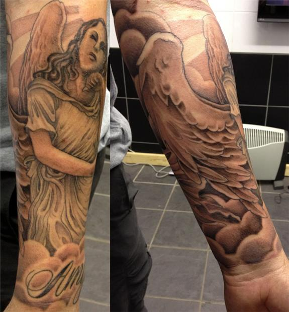 Angel half sleeve by blacklotusta2 on deviantart for Angel half sleeve tattoo