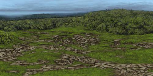 Evosaur art - Backgrounds - Eroding Hills by mrXylax
