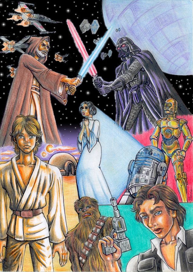 dessins et affiches star wars - Page 16 Star_Wars___A_New_Hope_by_jetchan