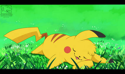 Sleepy Pikachu by XyvernArtworks