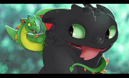 Toothless Meets Toothless! by XyvernArtworks