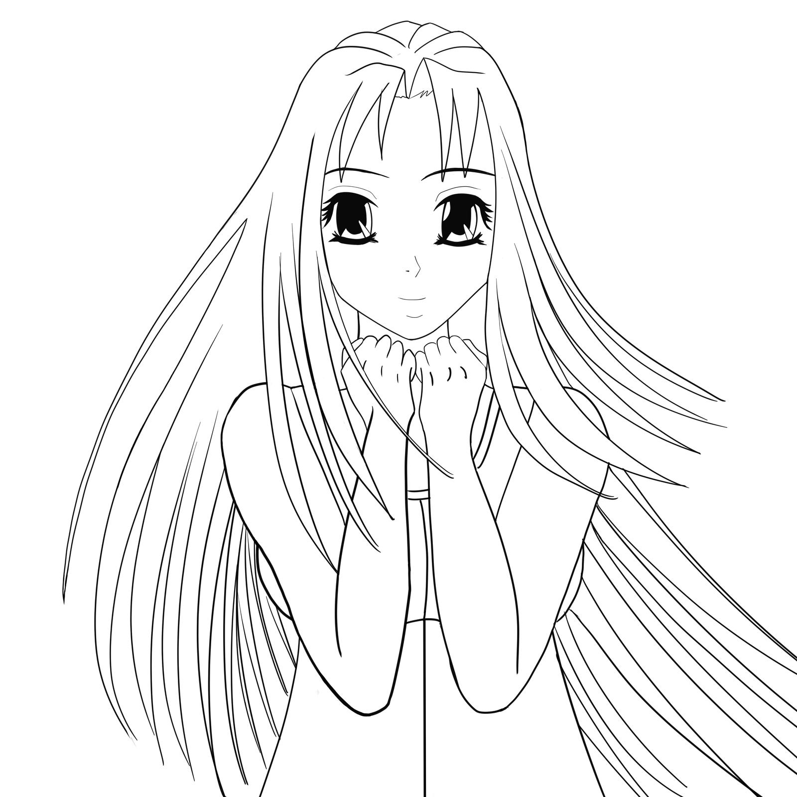 Line Drawing Female : Original female manga line art wacom by tetsuo on