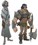 old wizard and barbarian