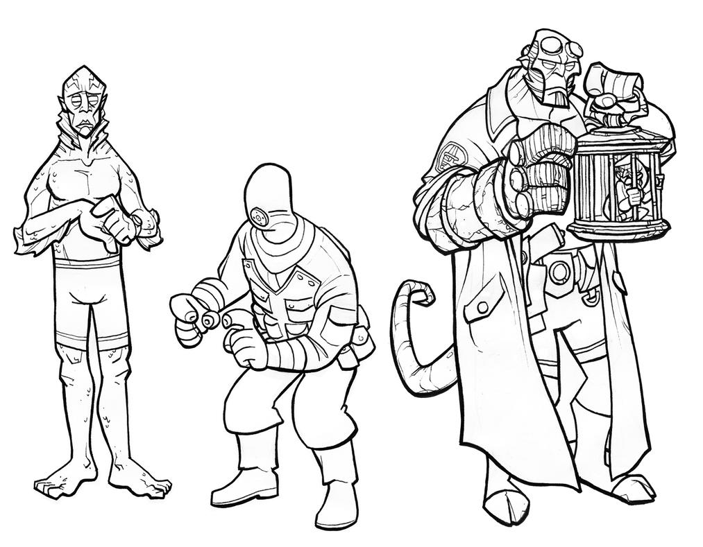 Line Art Character : Hellboy characters lines by jimmymcwicked on deviantart