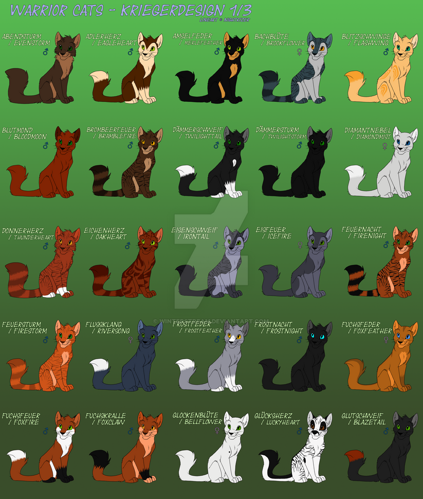 Warrior Cats - Warrior Design 1-3 by Winterstream