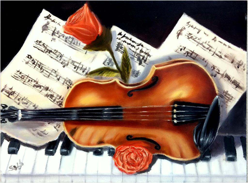 violin, piano music and rose