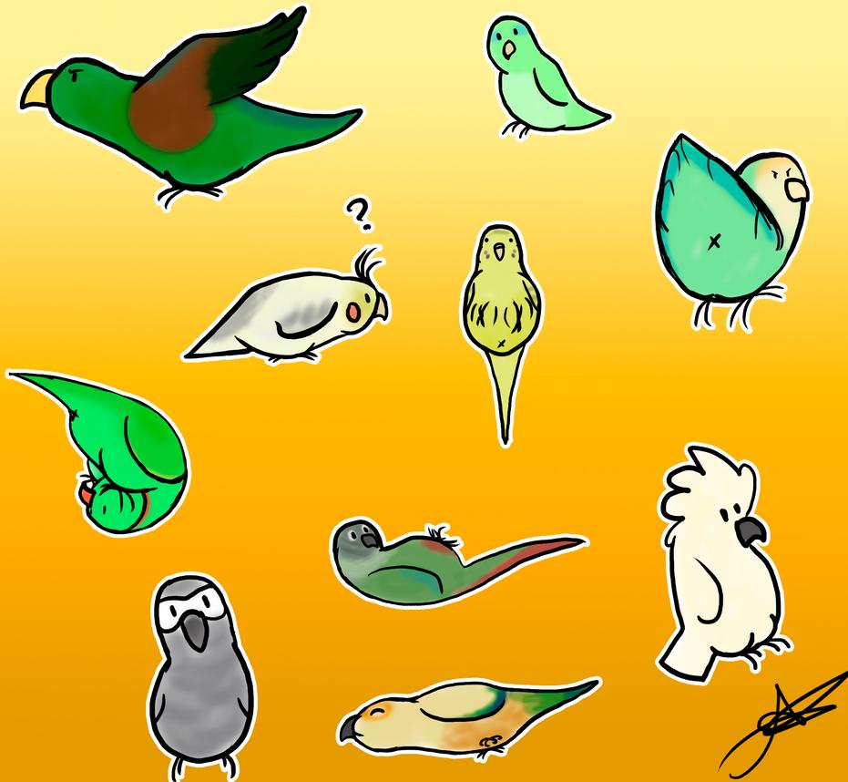 Bird stickers by xXxelyxXx