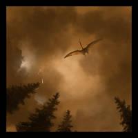 Hatzegopteryx riding a storm by gabiserg2000