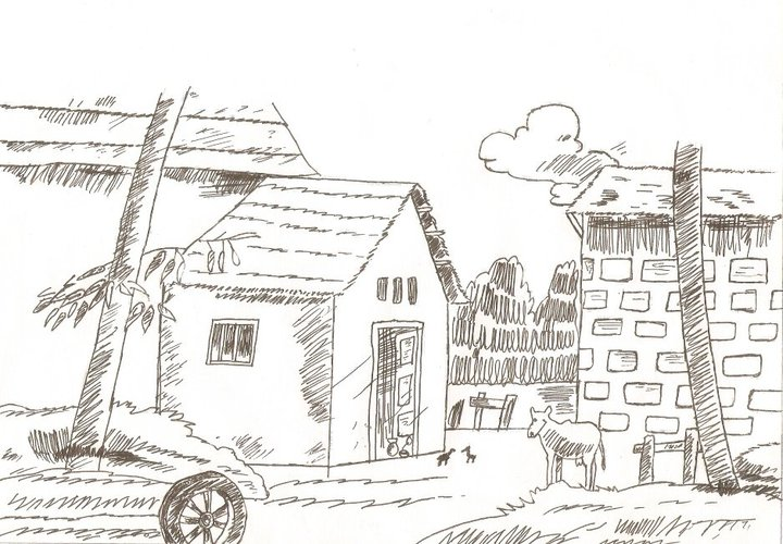 Line Art Village : Village landscape by multigold on deviantart