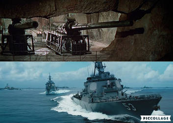 Navarone Guns firing at Rimpac Fleet