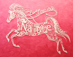 Custom horse paper cutting by Snowboardleopard