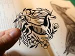 Tiny Unicorn Skeleton PAPER CUTTING