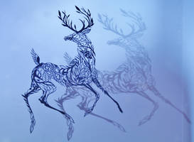 Deer PAPER CUTTING shadows by Snowboardleopard