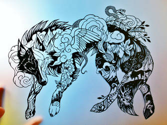Surreal Wolf PAPER CUTTING by Snowboardleopard