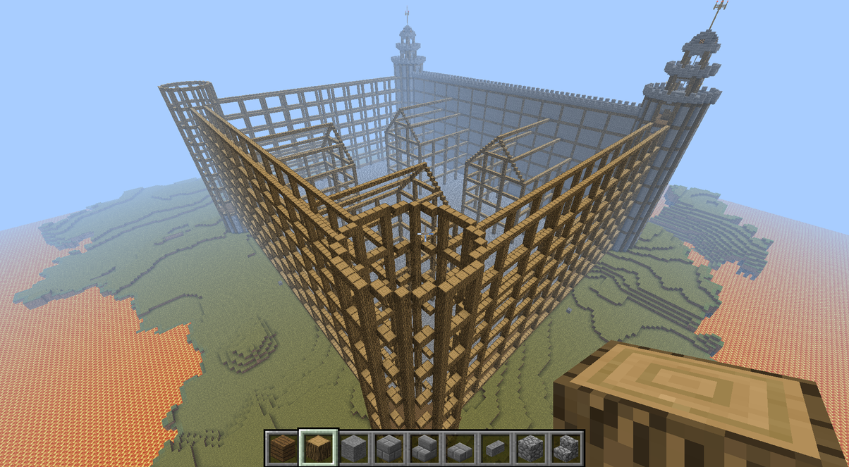 Minecraft Castle Construction Site Wooden Frames By