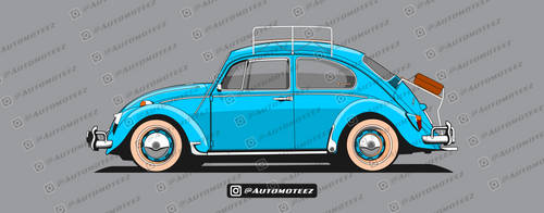 Classic Blue VW Beetle - Travel Ready by automoteez