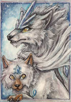 Custom (Fake) Pokemon - Opulwolf and Lucowolf ACEO by Corinthiansrose77