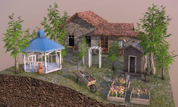 3D diorama grandma's garden