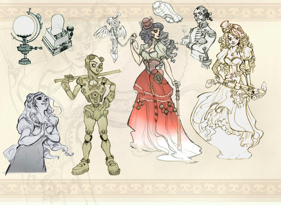 Steampunk sketches by Sally-Avernier