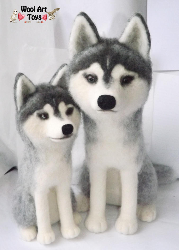 Miniature Sculpture of your dog. Needle Felted Dog  Needle_felted_siberian_huskies_by_woolarttoys-d8989nx