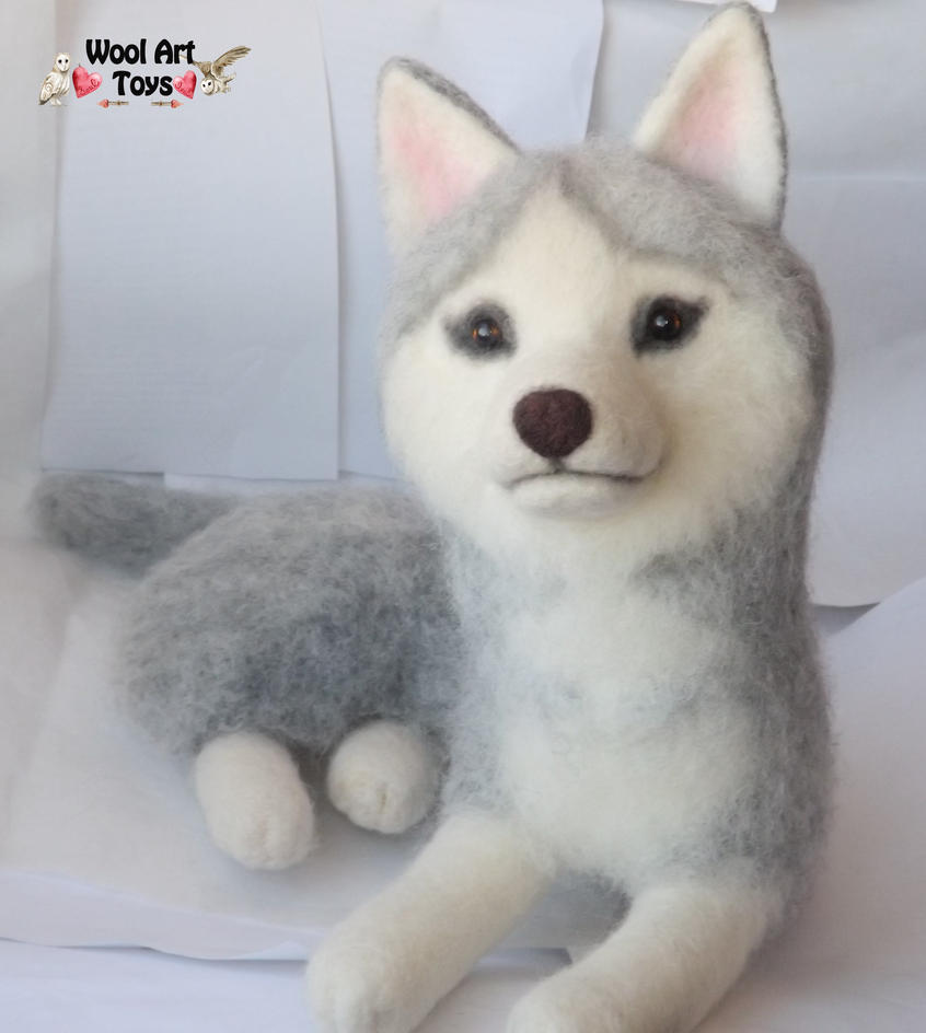 Miniature Sculpture of your dog. Needle Felted Dog  - Page 2 Needle_felted_siberian_husky___sakary_by_woolarttoys-d8bjf5b