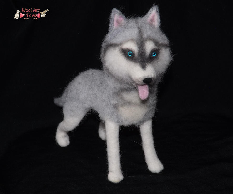 Miniature Sculpture of your dog. Needle Felted Dog  - Page 2 Siberian_husky___artist_needle_felted_dog_by_woolarttoys-d8edaqi