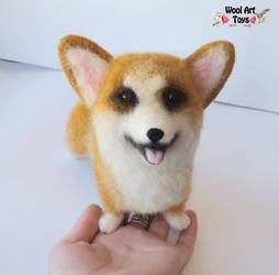 Welsh Corgi - Artist Needle Felted Dog by WoolArtToys