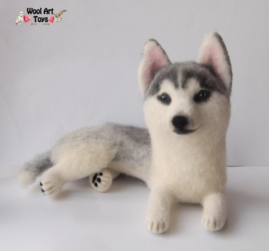 Miniature Sculpture of your dog. Needle Felted Dog  - Page 2 Siberian_husky_oskar___artist_needle_felted_dog_by_woolarttoys-d8jfr8l