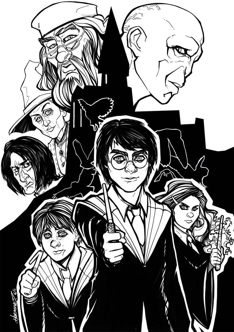 Line Drawing Harry Potter : Harry potter lineart by theharmine on deviantart