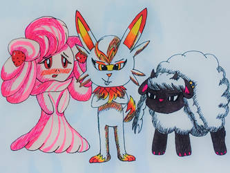 The Fluffiest Pokemon: Alcremie, Scorbunny, Wooloo by MaccaGemDiamond