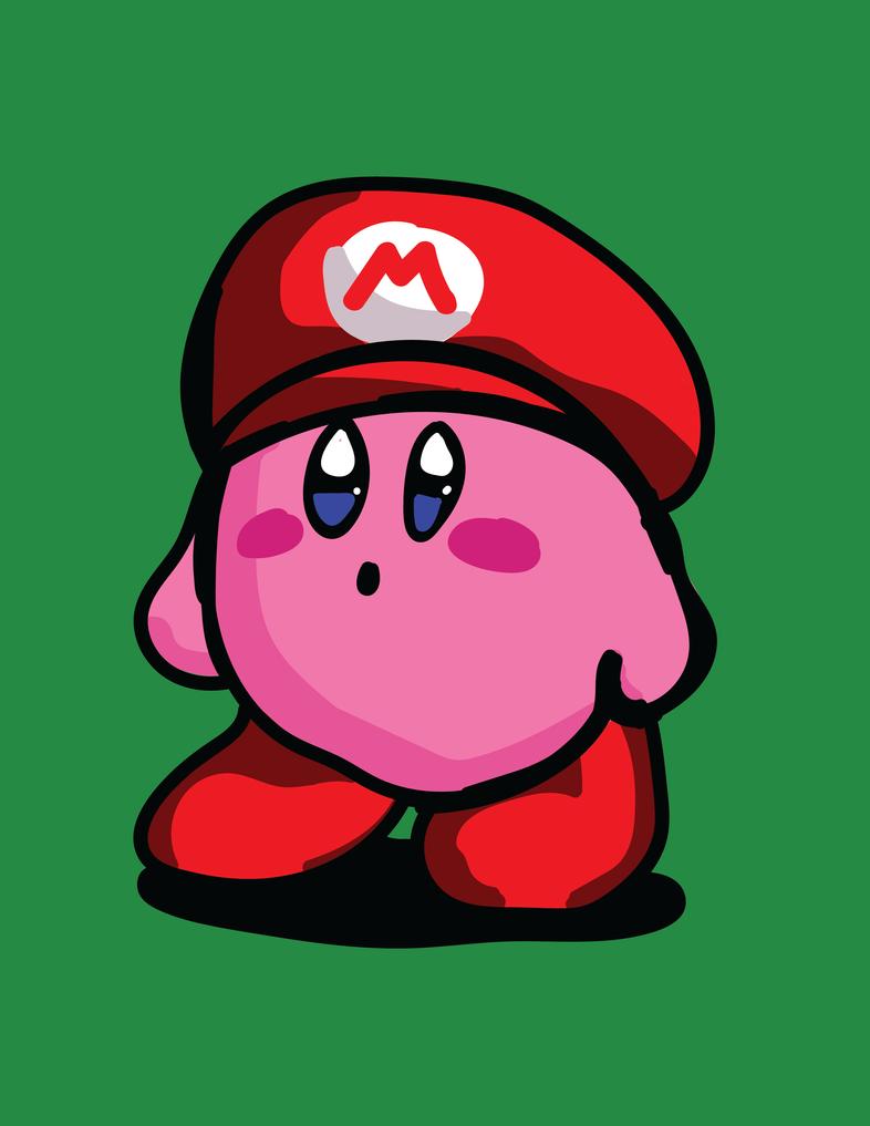 Kirby with Mario Hat Fanart by RikusOreos