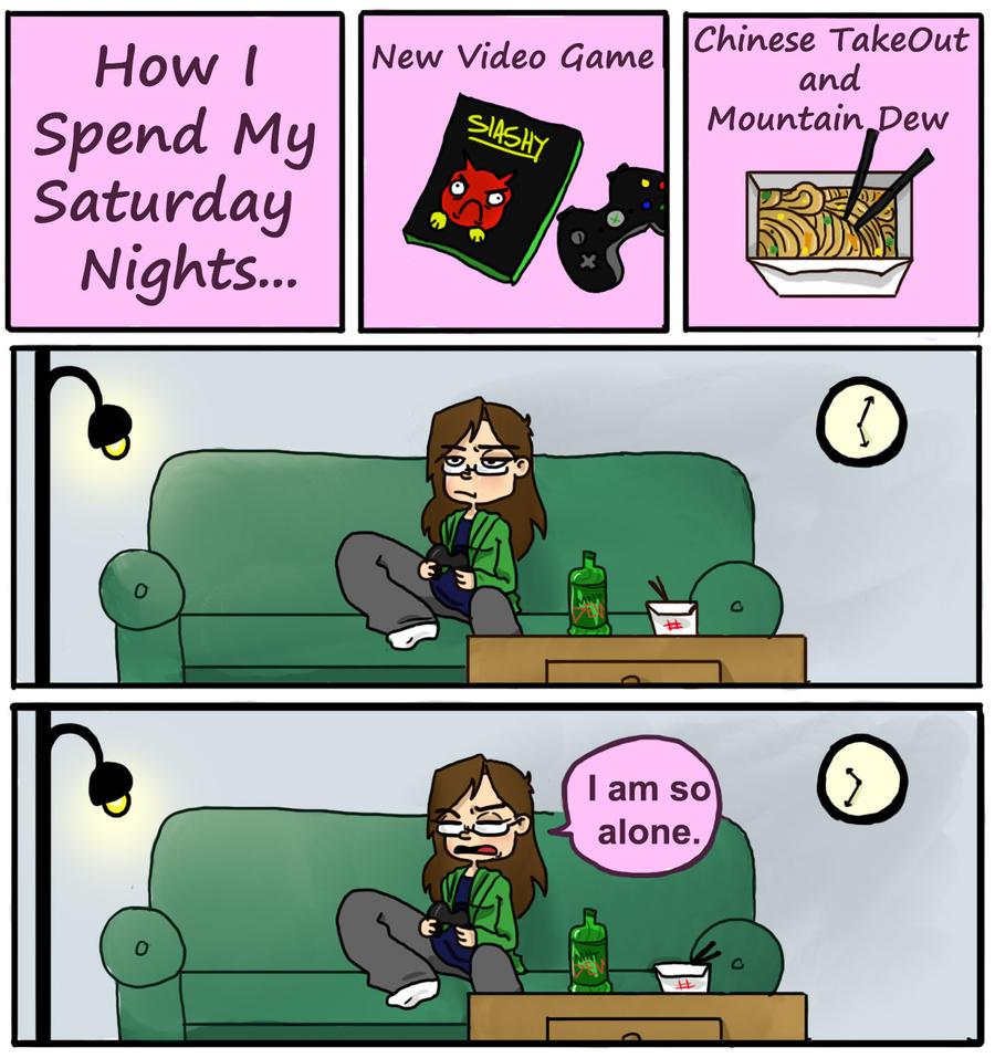 Saturdays in College by LittleGreenHat