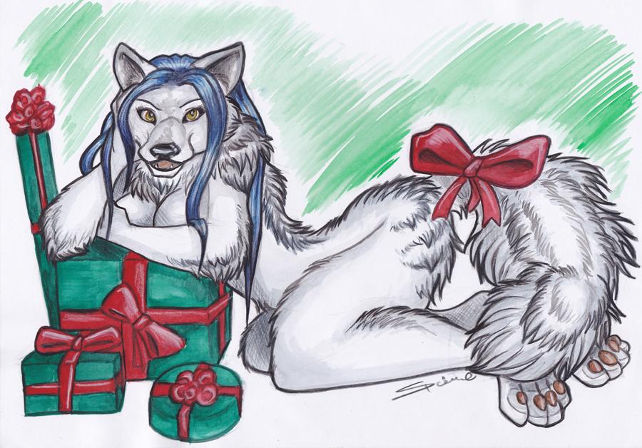 Anthro Arctic Wolf Xmas Furry - Arctic Wo...