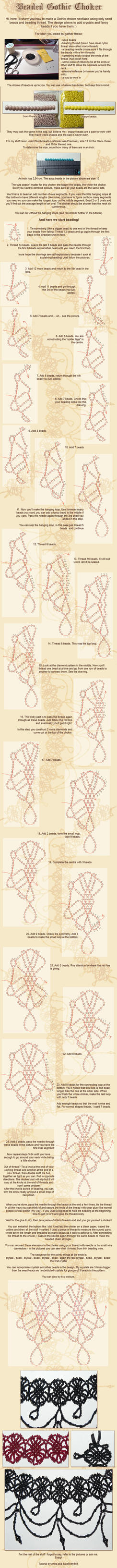 Beaded choker tutorial by la-chatte-noire