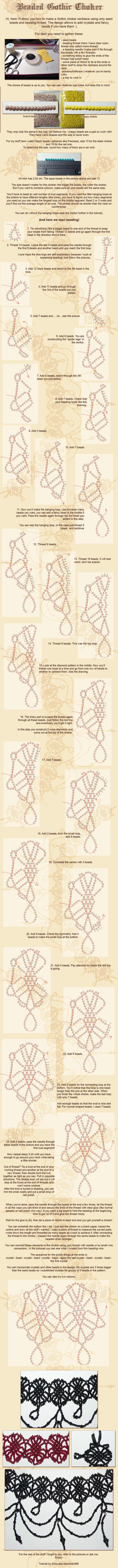 Beaded choker tutorial by la-chatte-noire