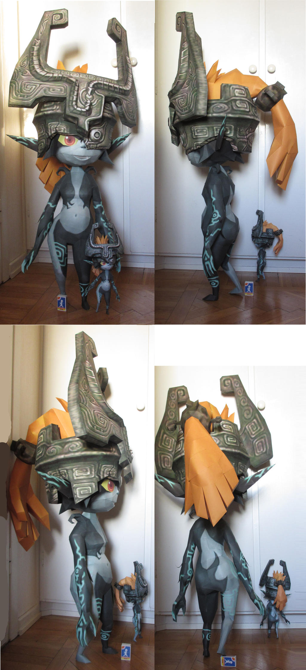 Life size Midna with miniMidna papercraft by minidelirium