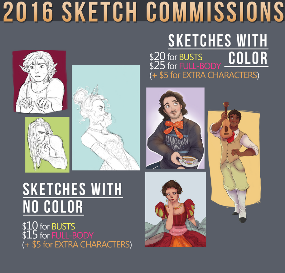 2016 Sketch Commissions (OPEN) by Netsco