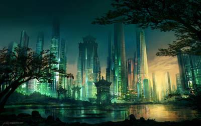 Neo Hong-Kong Sunset by JJcanvas