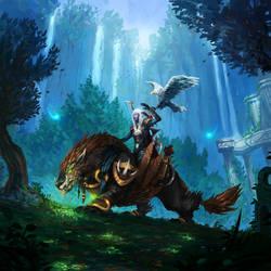 Trust of a Loyal Wolfhawk by JJcanvas