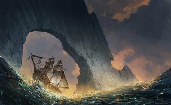 A ship in the sea.