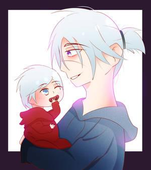 Gregor Helsworn holding baby Dante