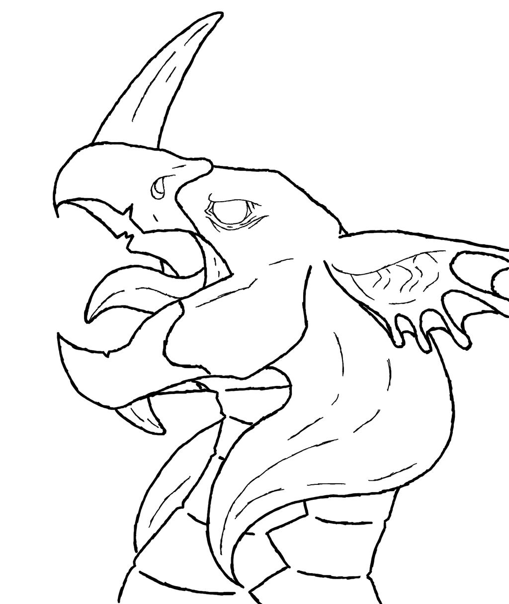 Line Drawing Head : Dragon head line art by holderofpeace on deviantart