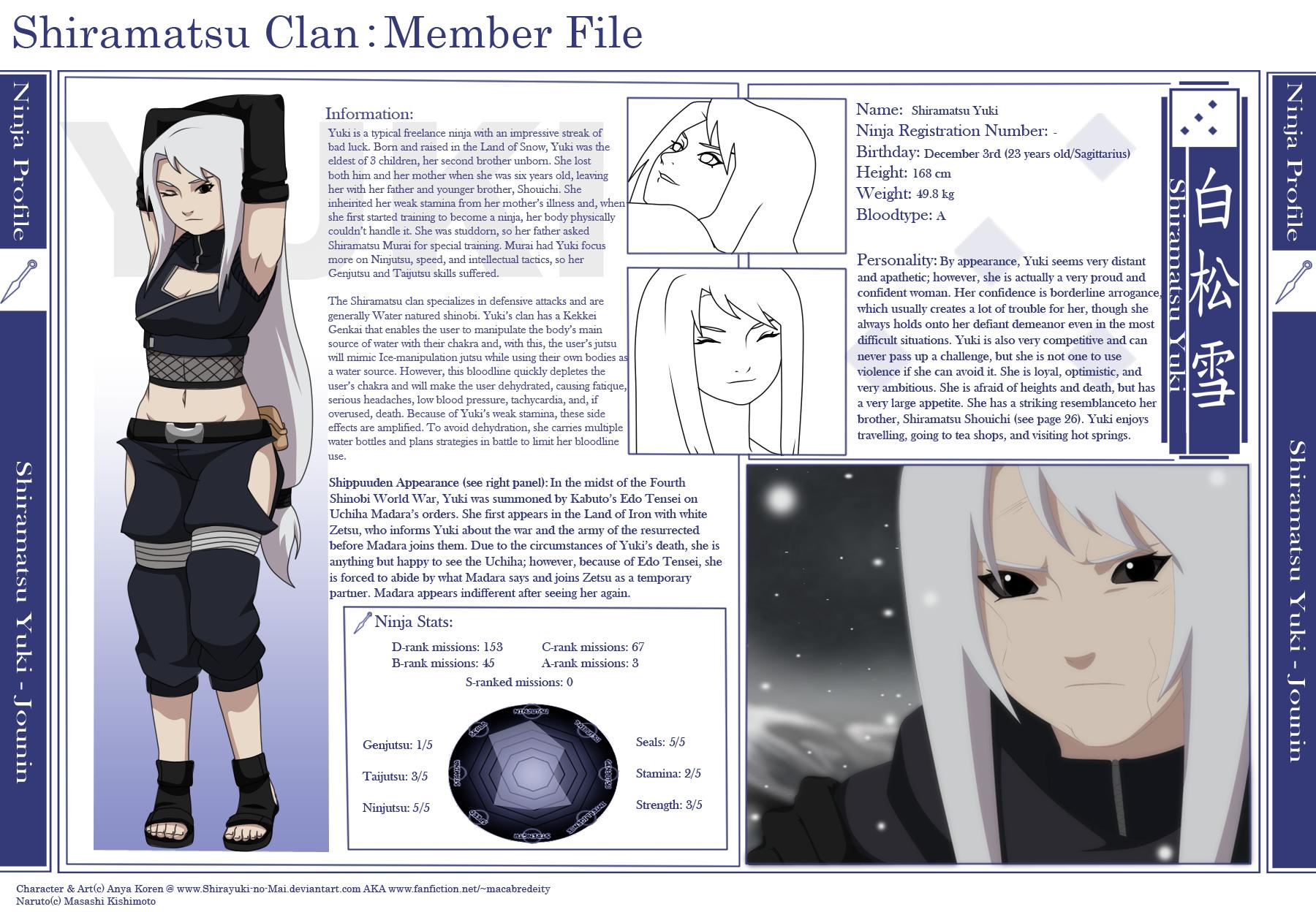 Shiramatsu Yuki: Info Sheet by Shirayuki-no-Mai on DeviantArt