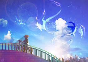 Drown In A Vast  Blue Sky by krakuyaaa-kon