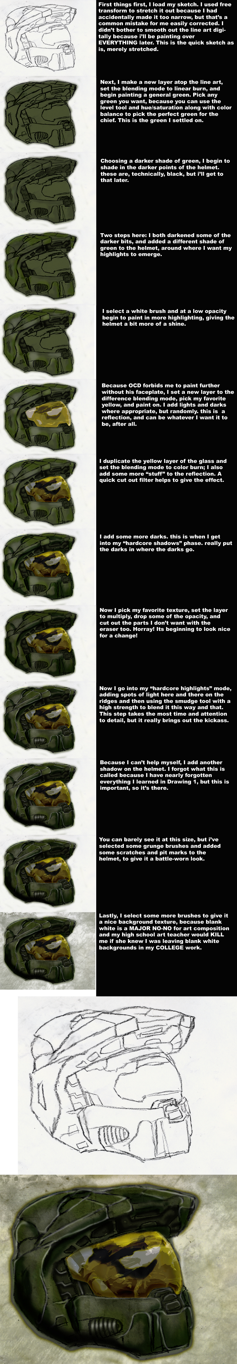 Master Chief Helmet Tutorial by MacabreHeretic